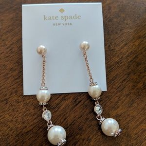 Kate Spade Pearl and Rose Gold Earrings